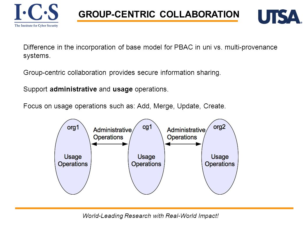 GROUP-CENTRIC COLLABORATION Difference in the incorporation of base model for PBAC in uni vs. multi-provenance systems. Group-centric collaboration pr