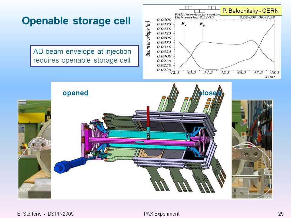 Openable storage cell E.