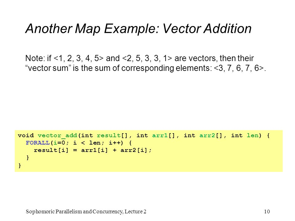 "Another Map Example: Vector Addition Note: if and are vectors, then their ""vector sum"" is the sum of corresponding elements:. 10Sophomoric Parallelism"