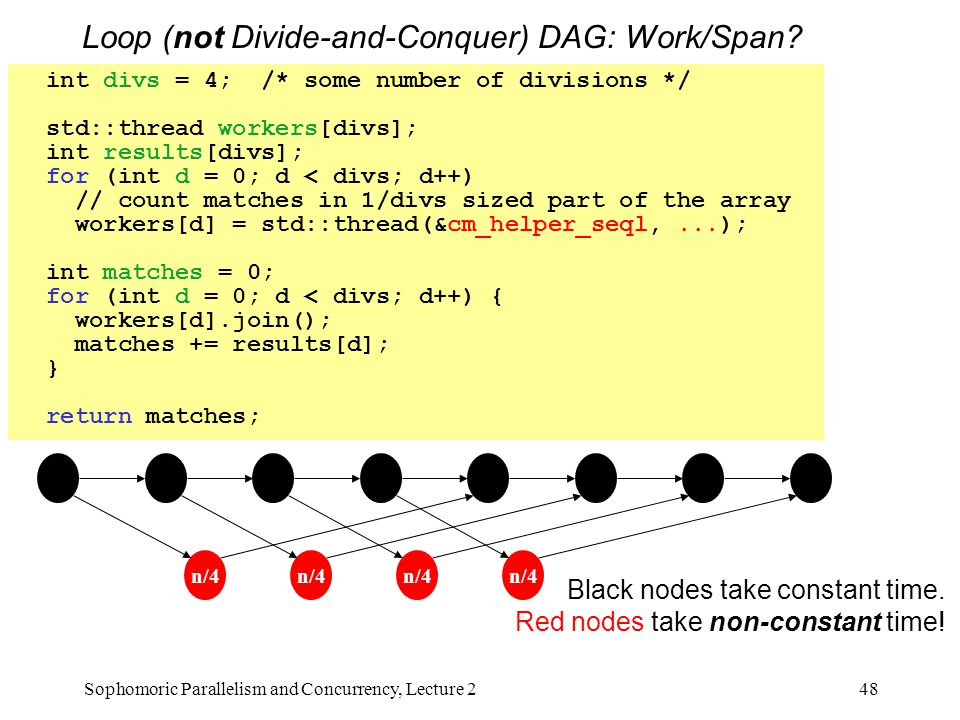 Loop (not Divide-and-Conquer) DAG: Work/Span? 48Sophomoric Parallelism and Concurrency, Lecture 2 int divs = 4; /* some number of divisions */ std::th