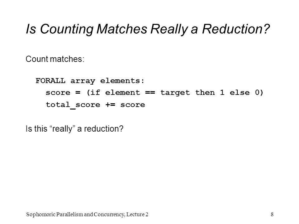 Is Counting Matches Really a Reduction.