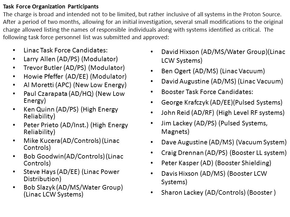 Task Force Organization Participants The charge is broad and intended not to be limited, but rather inclusive of all systems in the Proton Source.