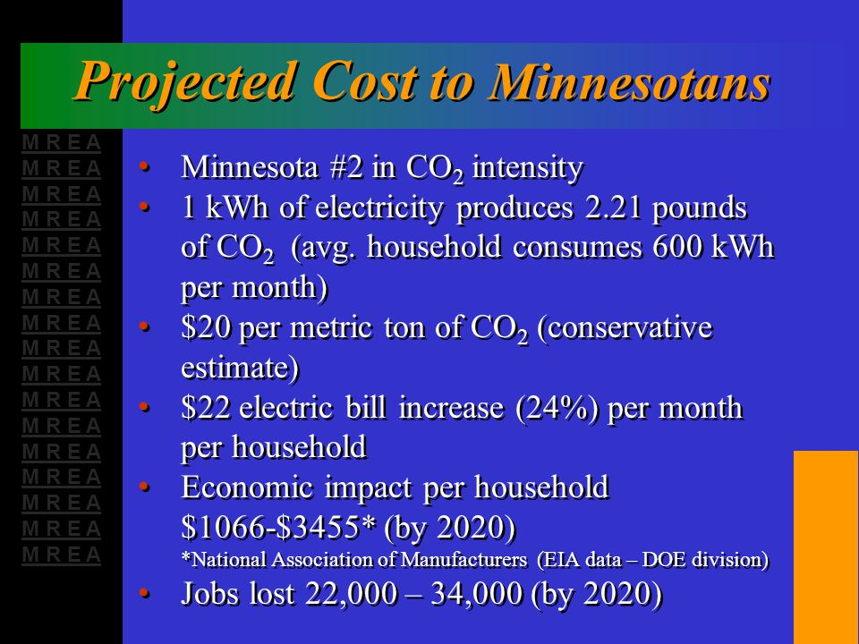 M R E A Projected Cost to Minnesotans Minnesota #2 in CO 2 intensity 1 kWh of electricity produces 2.21 pounds of CO 2 (avg.