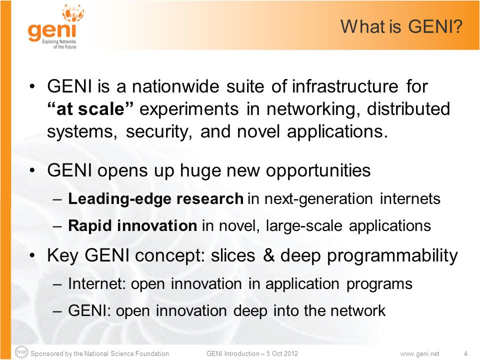 Sponsored by the National Science Foundation4GENI Introduction – 5 Oct 2012www.geni.net What is GENI.