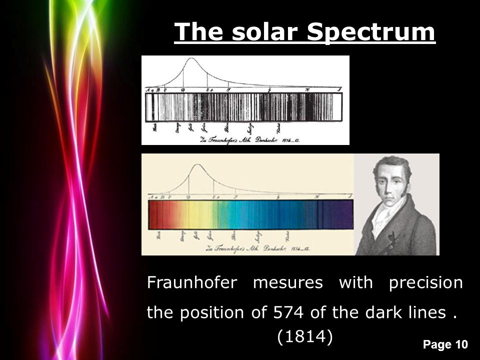 Powerpoint Templates Page 10 The solar Spectrum Fraunhofer mesures with precision the position of 574 of the dark lines. (1814)