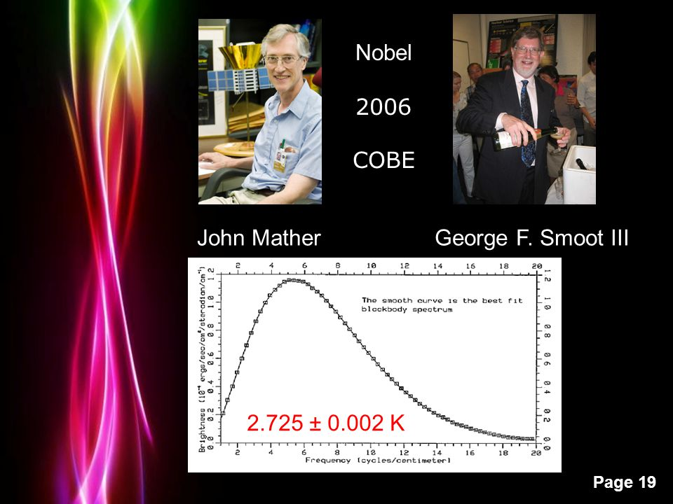 Powerpoint Templates Page 19 John Mather George F. Smoot III Nobel 2006 COBE 2.725 ± 0.002 K