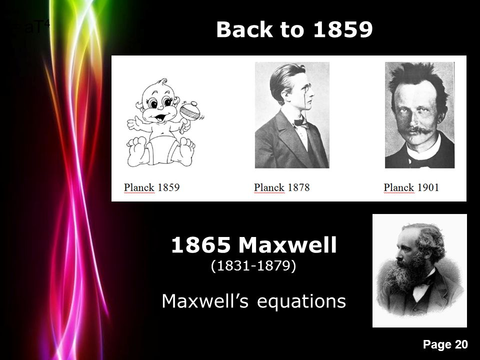 Powerpoint Templates Page 20 Back to 1859 = aT 4 1865 Maxwell (1831-1879) Maxwell's equations