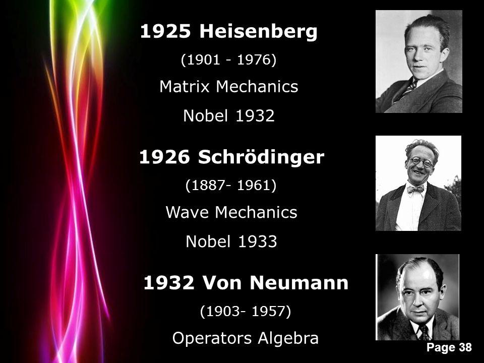 Powerpoint Templates Page 38 1925 Heisenberg (1901 - 1976) Matrix Mechanics Nobel 1932 1926 Schrödinger (1887- 1961) Wave Mechanics Nobel 1933 1932 Von Neumann (1903- 1957) Operators Algebra
