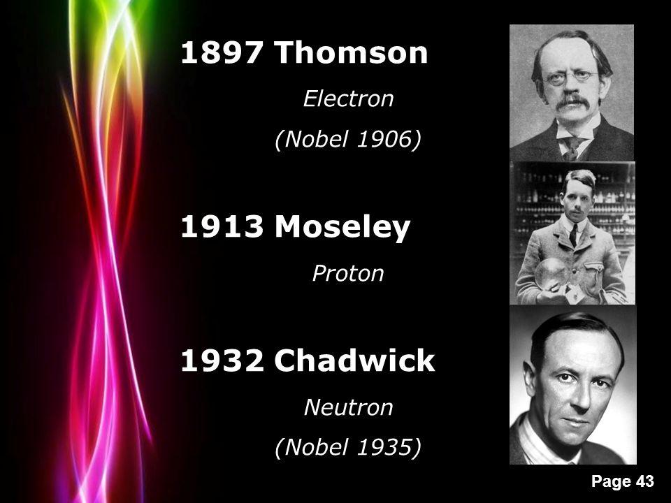 Powerpoint Templates Page 43 1897 Thomson Electron (Nobel 1906) 1913 Moseley Proton 1932 Chadwick Neutron (Nobel 1935)