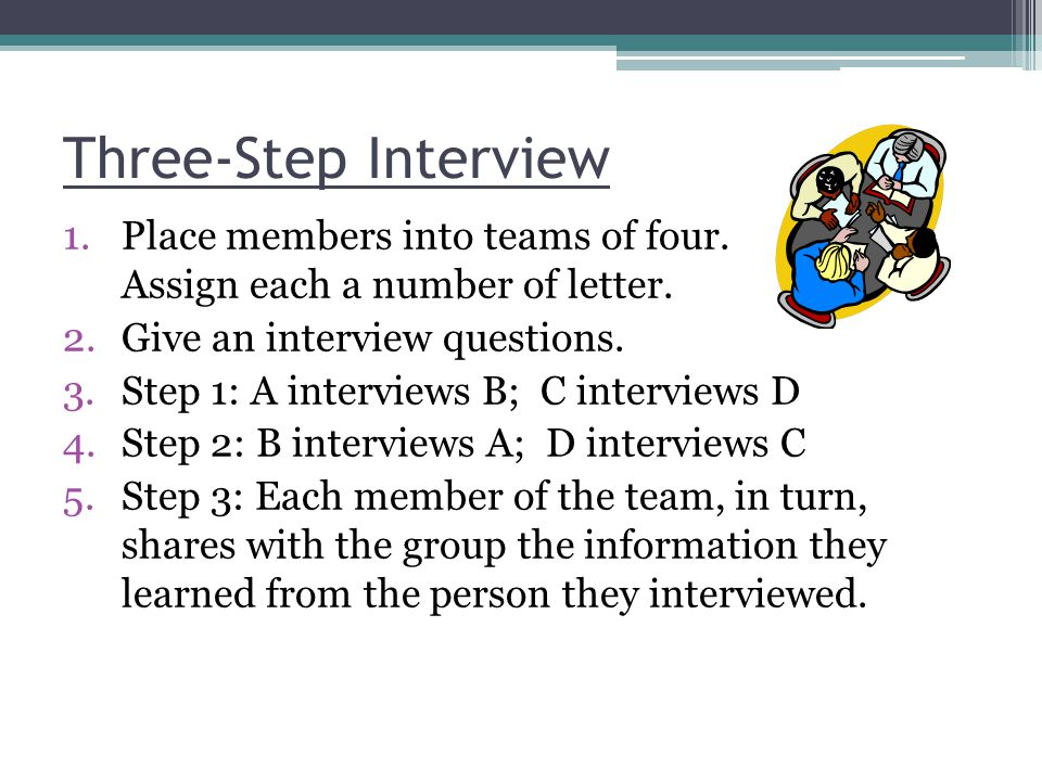 Three-Step Interview 1.Place members into teams of four. Assign each a number of letter. 2.Give an interview questions. 3.Step 1: A interviews B; C in