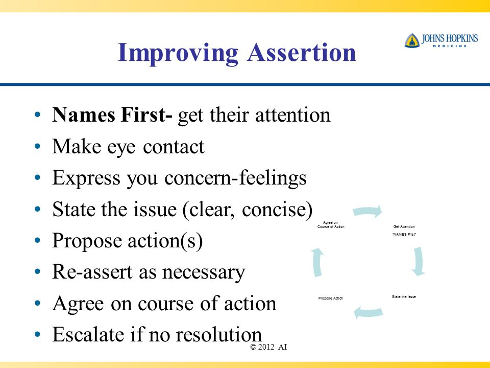 Improving Assertion Names First- get their attention Make eye contact Express you concern-feelings State the issue (clear, concise) Propose action(s) Re-assert as necessary Agree on course of action Escalate if no resolution © 2012 AI Get Attention NAMES First State the issue Propose Action Agree on Course of Action