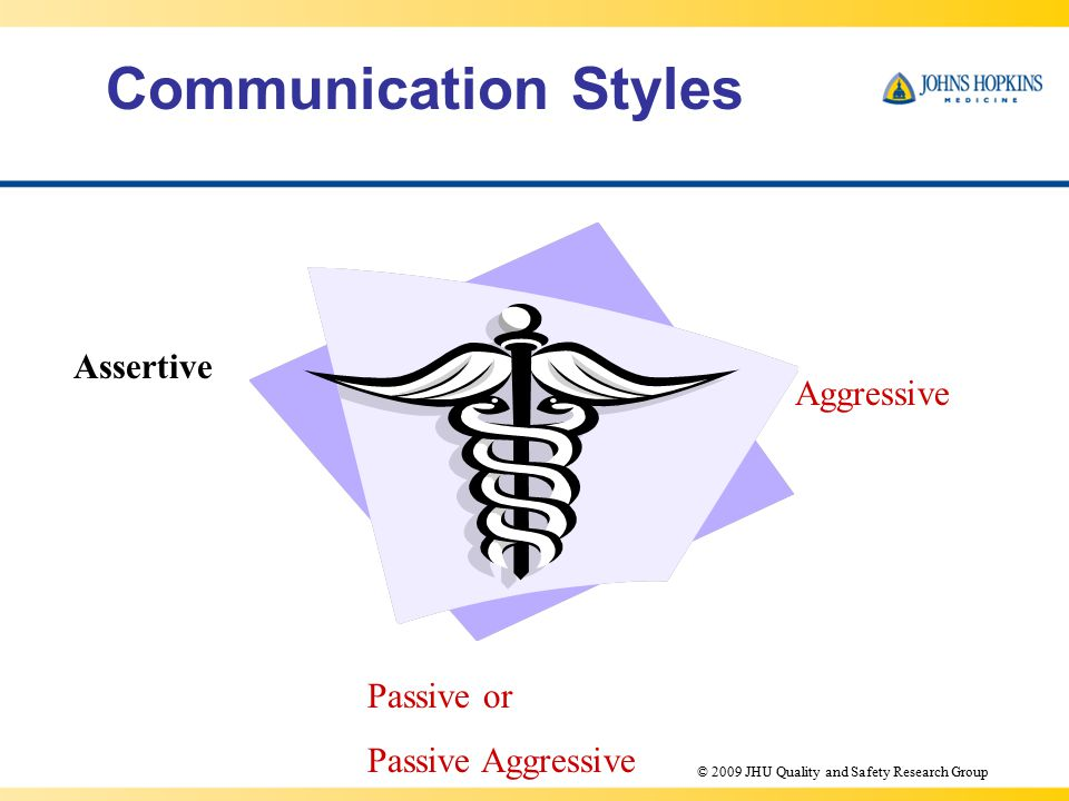 Communication Styles Assertive Aggressive Passive or Passive Aggressive © 2009 JHU Quality and Safety Research Group