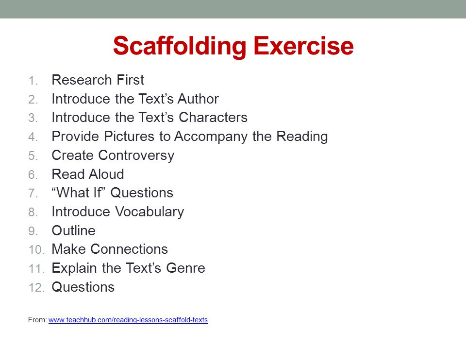 Scaffolding Exercise 1. Research First 2. Introduce the Text's Author 3.