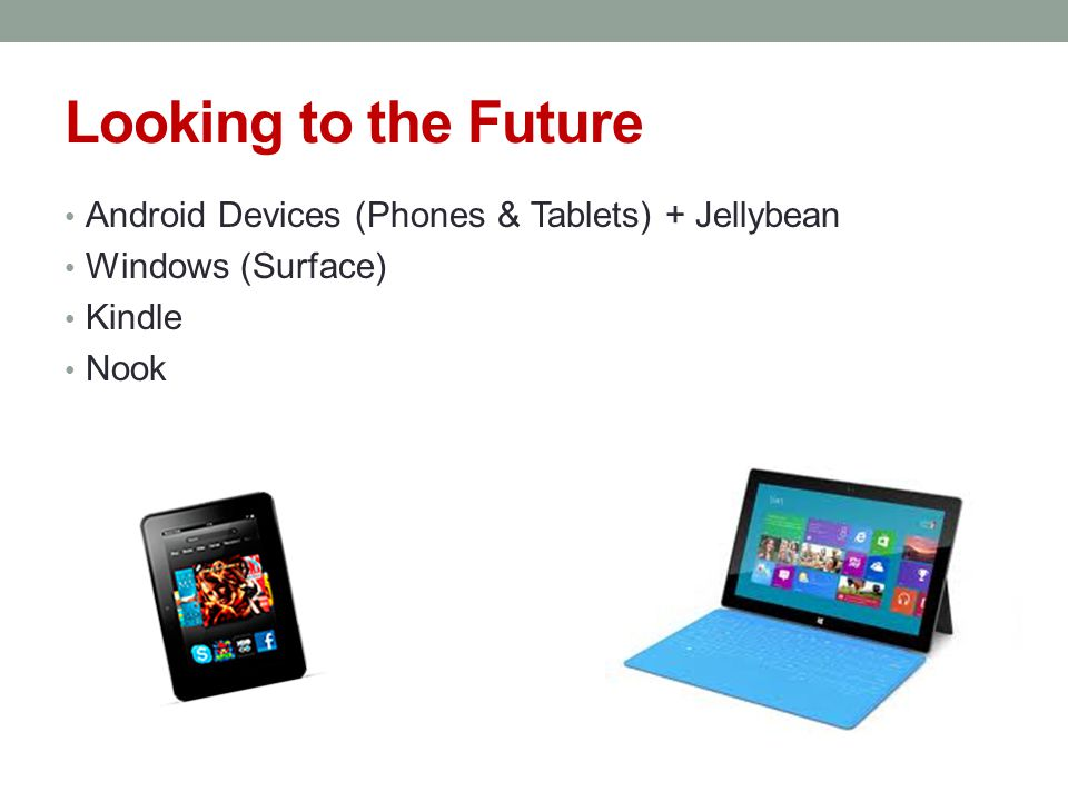 Looking to the Future Android Devices (Phones & Tablets) + Jellybean Windows (Surface) Kindle Nook