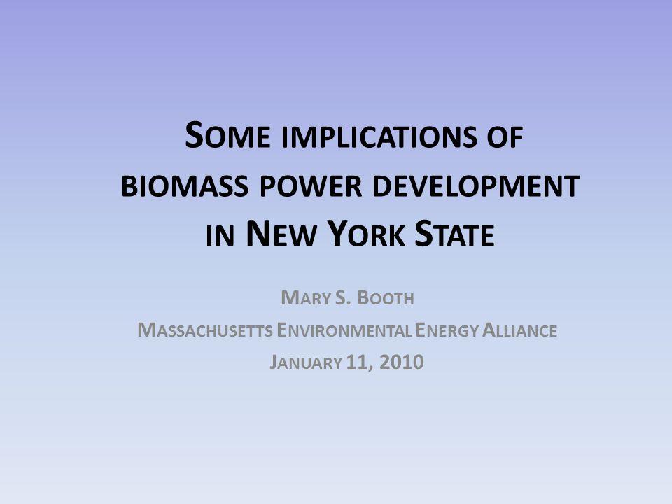S OME IMPLICATIONS OF BIOMASS POWER DEVELOPMENT IN N EW Y ORK S TATE M ARY S. B OOTH M ASSACHUSETTS E NVIRONMENTAL E NERGY A LLIANCE J ANUARY 11, 2010