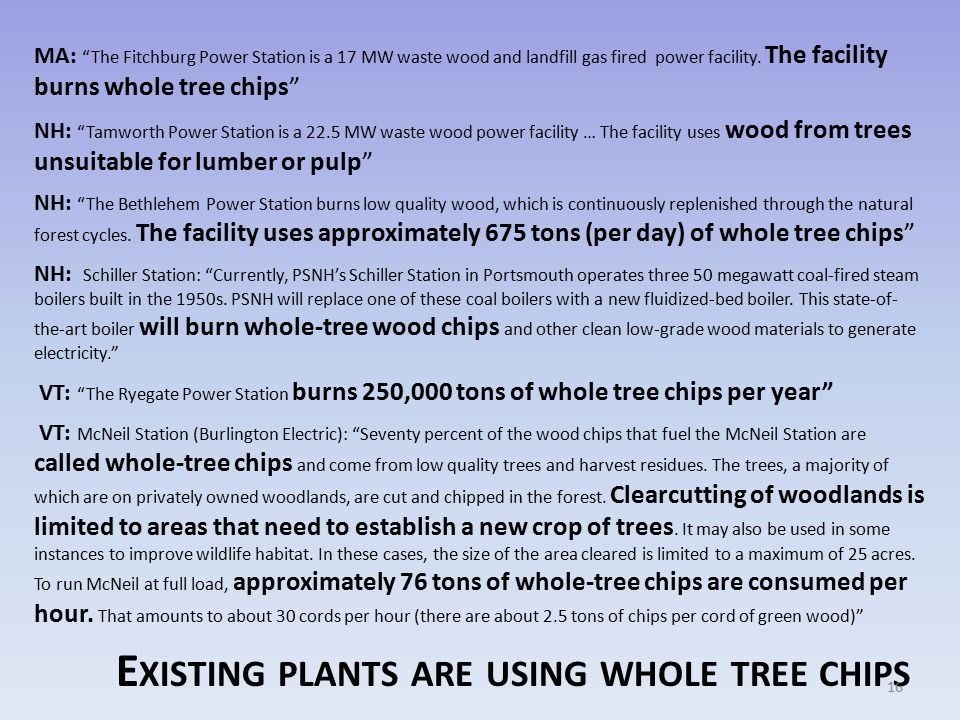 E XISTING PLANTS ARE USING WHOLE TREE CHIPS MA: The Fitchburg Power Station is a 17 MW waste wood and landfill gas fired power facility.