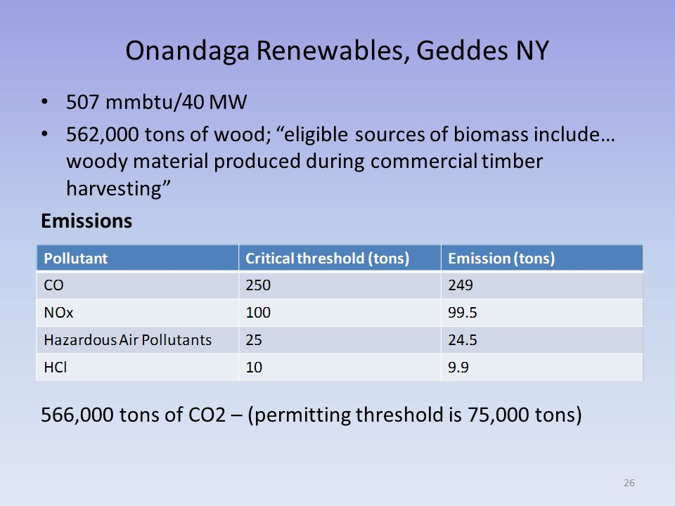 Onandaga Renewables, Geddes NY 507 mmbtu/40 MW 562,000 tons of wood; eligible sources of biomass include… woody material produced during commercial timber harvesting Emissions 566,000 tons of CO2 – (permitting threshold is 75,000 tons) 26