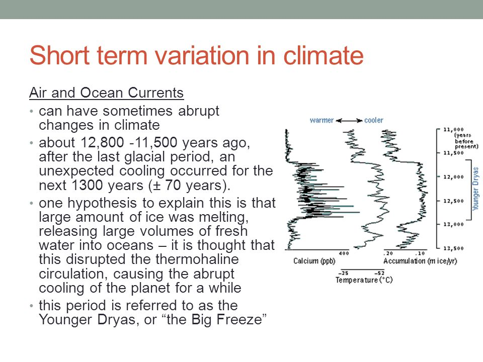 Short term variation in climate Air and Ocean Currents can have sometimes abrupt changes in climate about 12,800 -11,500 years ago, after the last glacial period, an unexpected cooling occurred for the next 1300 years (± 70 years).