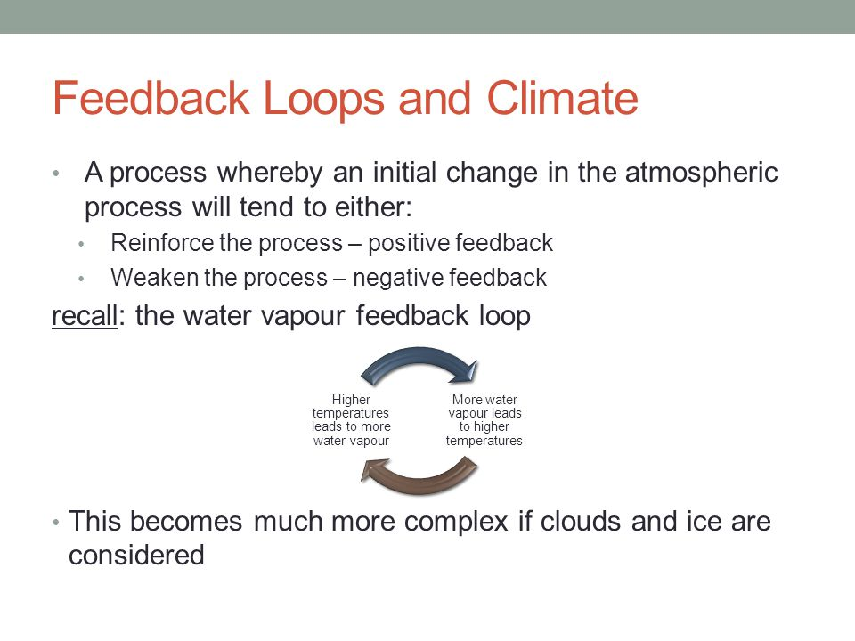 Feedback Loops and Climate A process whereby an initial change in the atmospheric process will tend to either: Reinforce the process – positive feedback Weaken the process – negative feedback recall: the water vapour feedback loop This becomes much more complex if clouds and ice are considered More water vapour leads to higher temperatures Higher temperatures leads to more water vapour