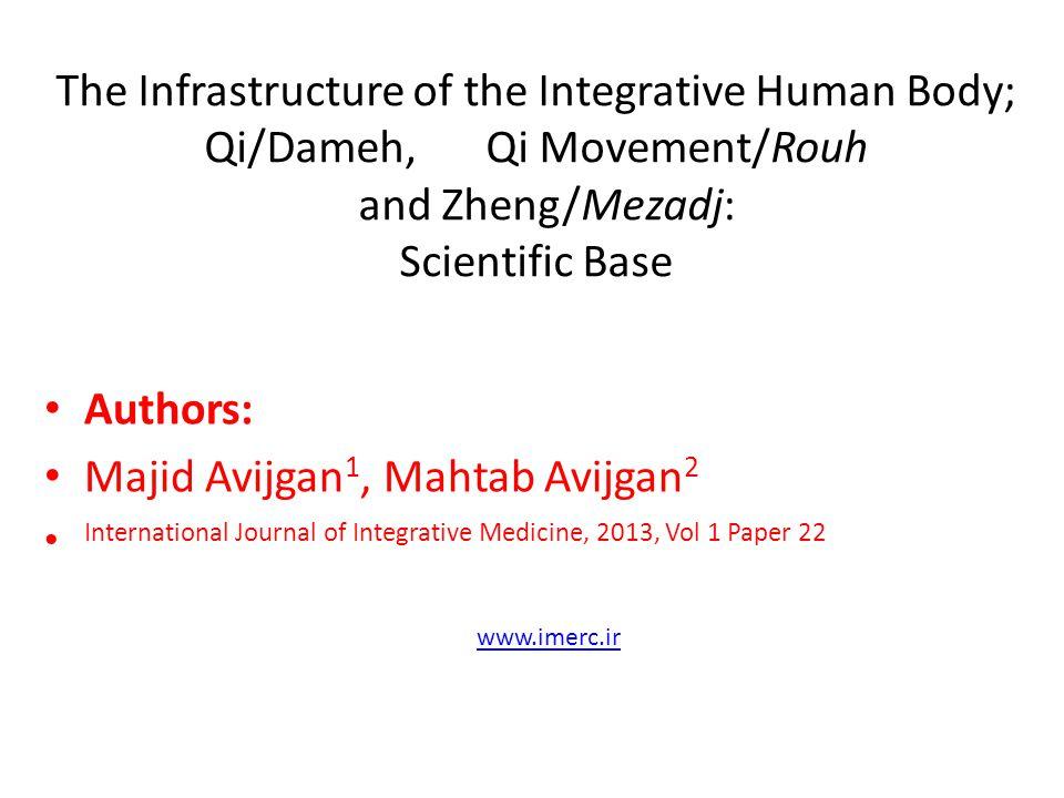The Infrastructure of the Integrative Human Body; Qi/Dameh, Qi Movement/Rouh and Zheng/Mezadj: Scientific Base Authors: Majid Avijgan 1, Mahtab Avijga