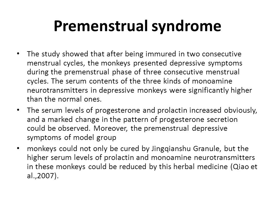 Premenstrual syndrome one group with Yang Deficiency of the Spleen and the Kidney: Taichong (LR-3), Taixi (KI-3), Qihai (CV-6), Ganshu (BL-18), Tanzhong (CV-17), and Sanyinjiao (SP-6) were used