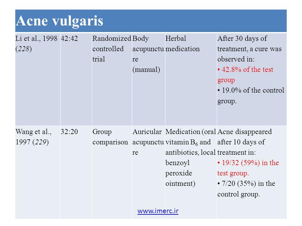 Acne vulgaris Li et al., 1998 (228) 42:42 Randomized controlled trial Body acupunctu re (manual) Herbal medication After 30 days of treatment, a cure