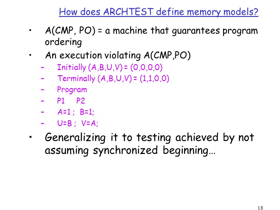 18 How does ARCHTEST define memory models.