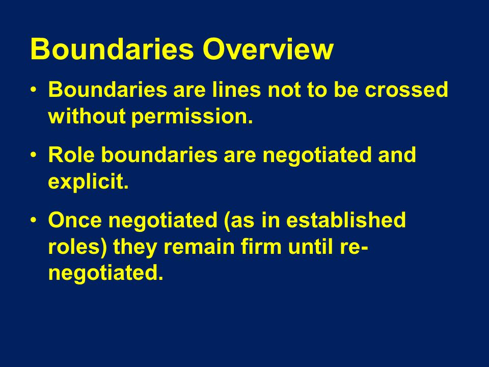 Boundaries Overview Boundaries are lines not to be crossed without permission.