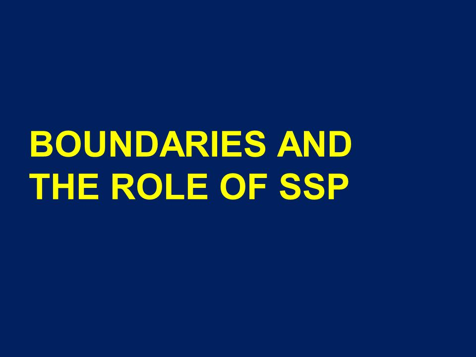BOUNDARIES AND THE ROLE OF SSP