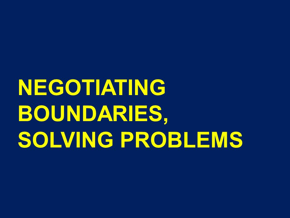 NEGOTIATING BOUNDARIES, SOLVING PROBLEMS