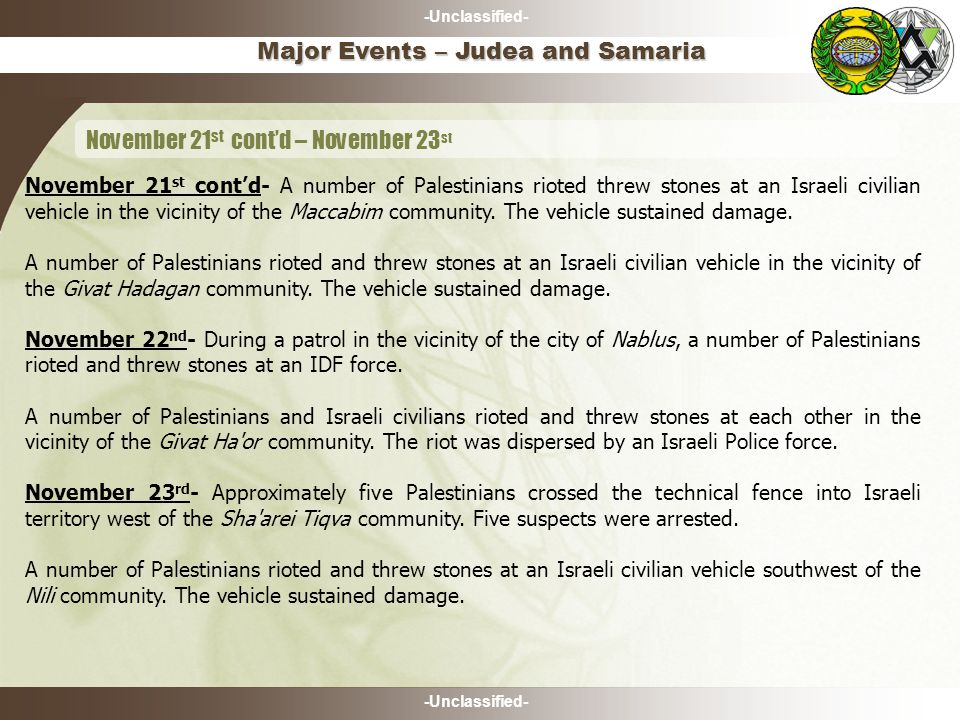 -Unclassified- Major Events – Judea and Samaria November 21 st cont'd – November 23 st November 21 st cont'd- A number of Palestinians rioted threw stones at an Israeli civilian vehicle in the vicinity of the Maccabim community.