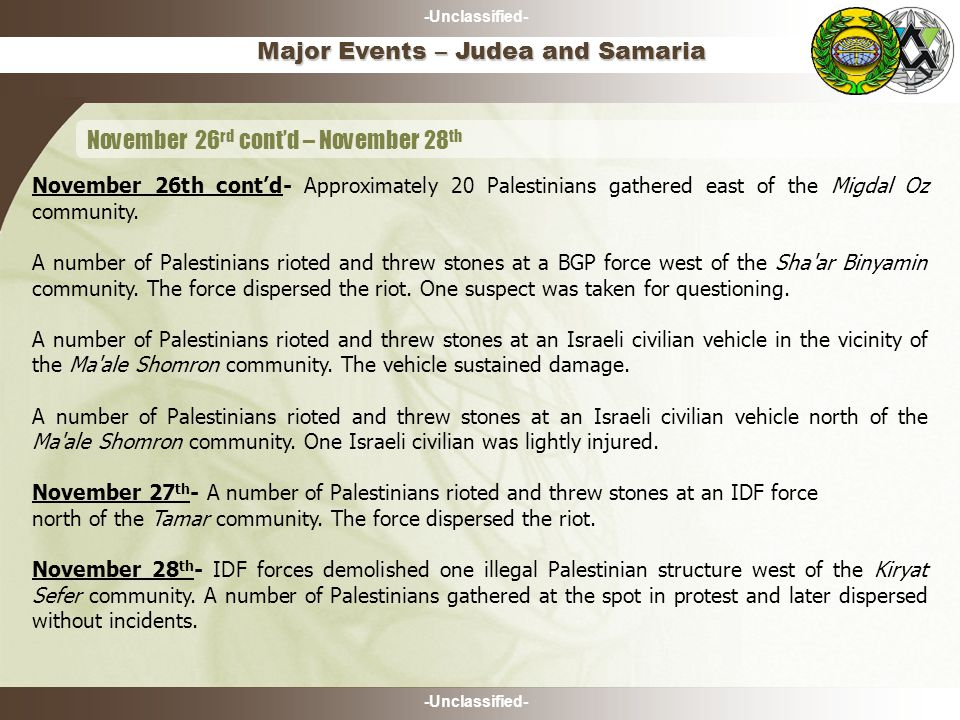 -Unclassified- Major Events – Judea and Samaria November 26 rd cont'd – November 28 th November 26th cont'd- Approximately 20 Palestinians gathered east of the Migdal Oz community.