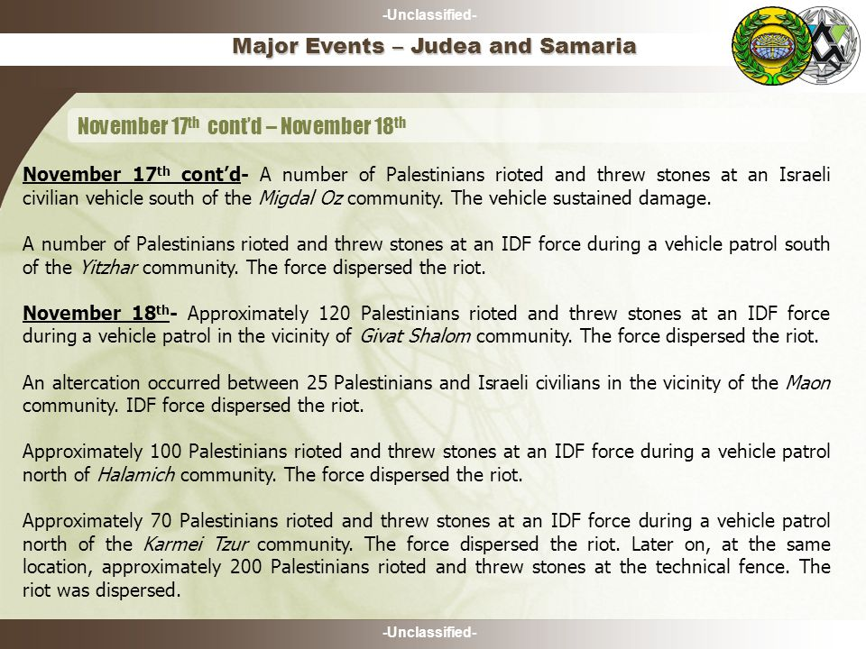 -Unclassified- Major Events – Judea and Samaria November 17 th cont'd – November 18 th November 17 th cont'd- A number of Palestinians rioted and threw stones at an Israeli civilian vehicle south of the Migdal Oz community.