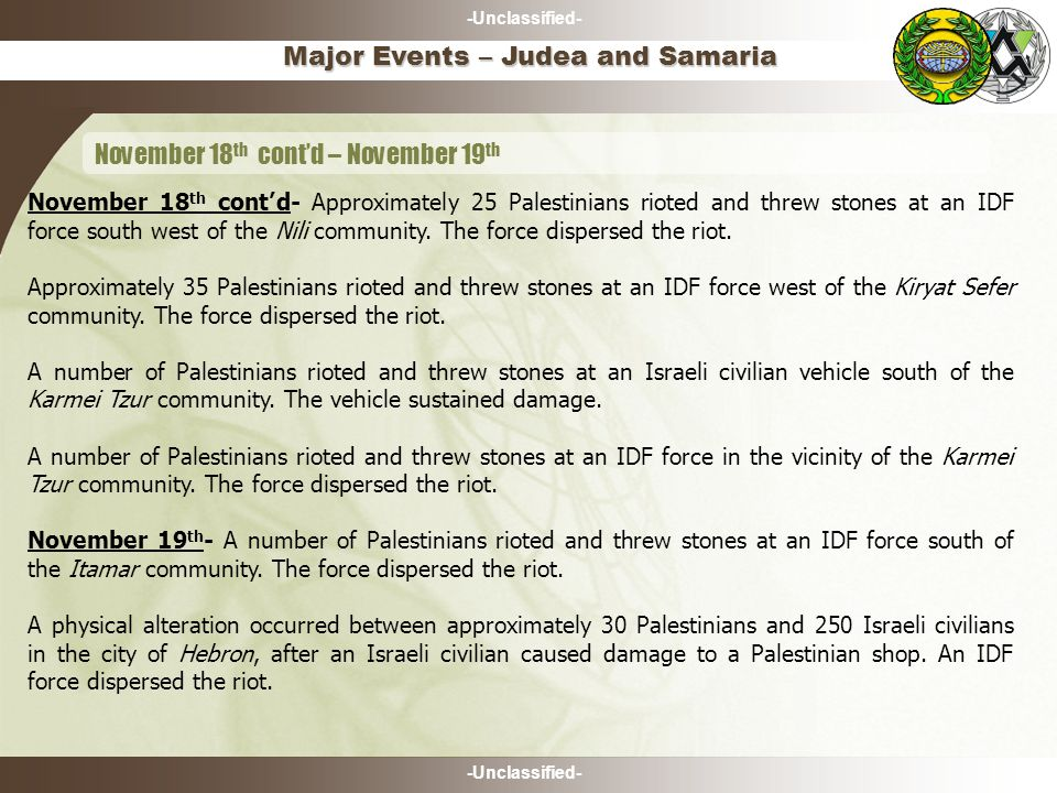 -Unclassified- Major Events – Judea and Samaria November 18 th cont'd – November 19 th November 18 th cont'd- Approximately 25 Palestinians rioted and threw stones at an IDF force south west of the Nili community.