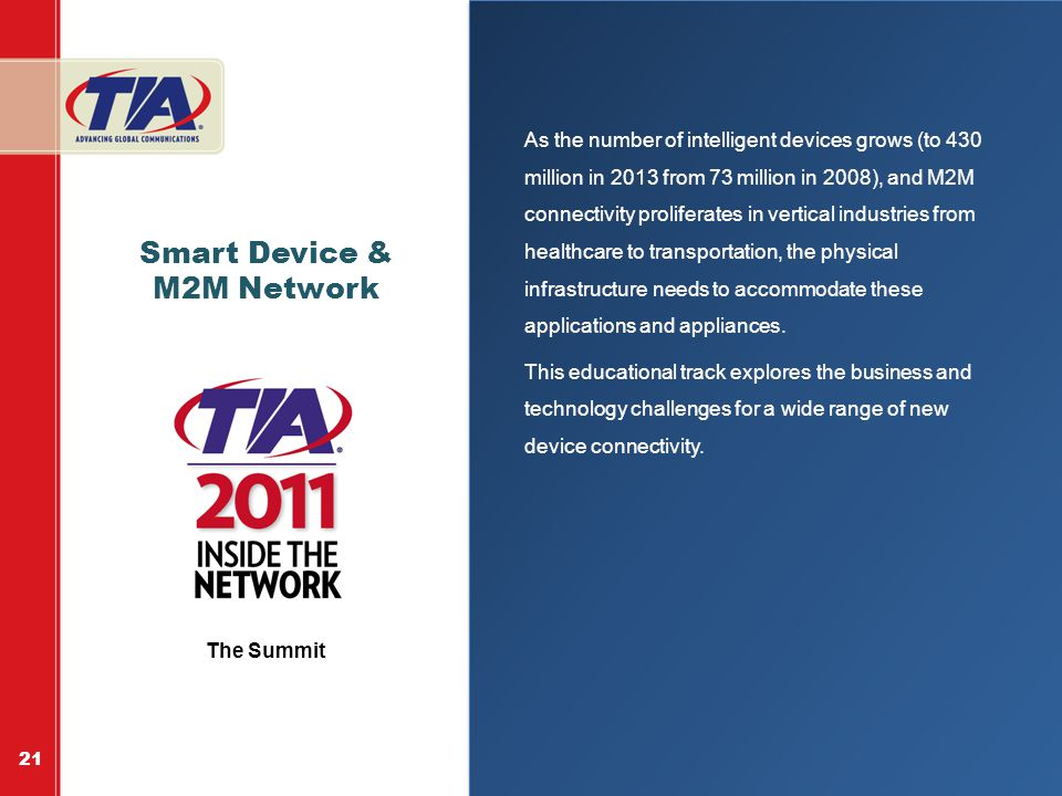 Smart Device & M2M Network As the number of intelligent devices grows (to 430 million in 2013 from 73 million in 2008), and M2M connectivity proliferates in vertical industries from healthcare to transportation, the physical infrastructure needs to accommodate these applications and appliances.