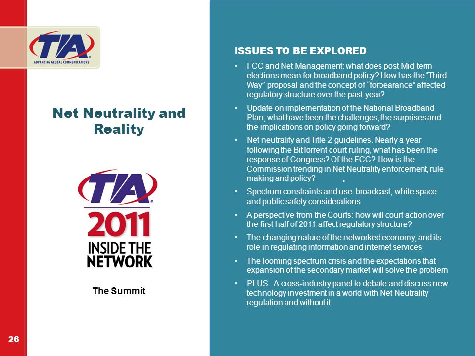 """.. Net Neutrality and Reality ISSUES TO BE EXPLORED FCC and Net Management: what does post-Mid-term elections mean for broadband policy? How has the """""""