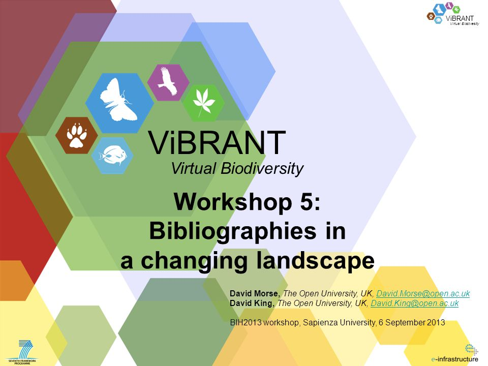 ViBRANT Agenda The wider landscape The bibliography of life Introduction RefBank ReFinder ViBRANT tools Linked open data The future