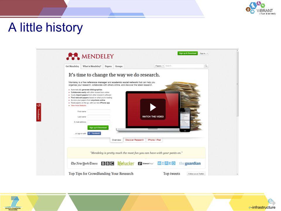 Virtual Biodiversity ViBRANT A little history