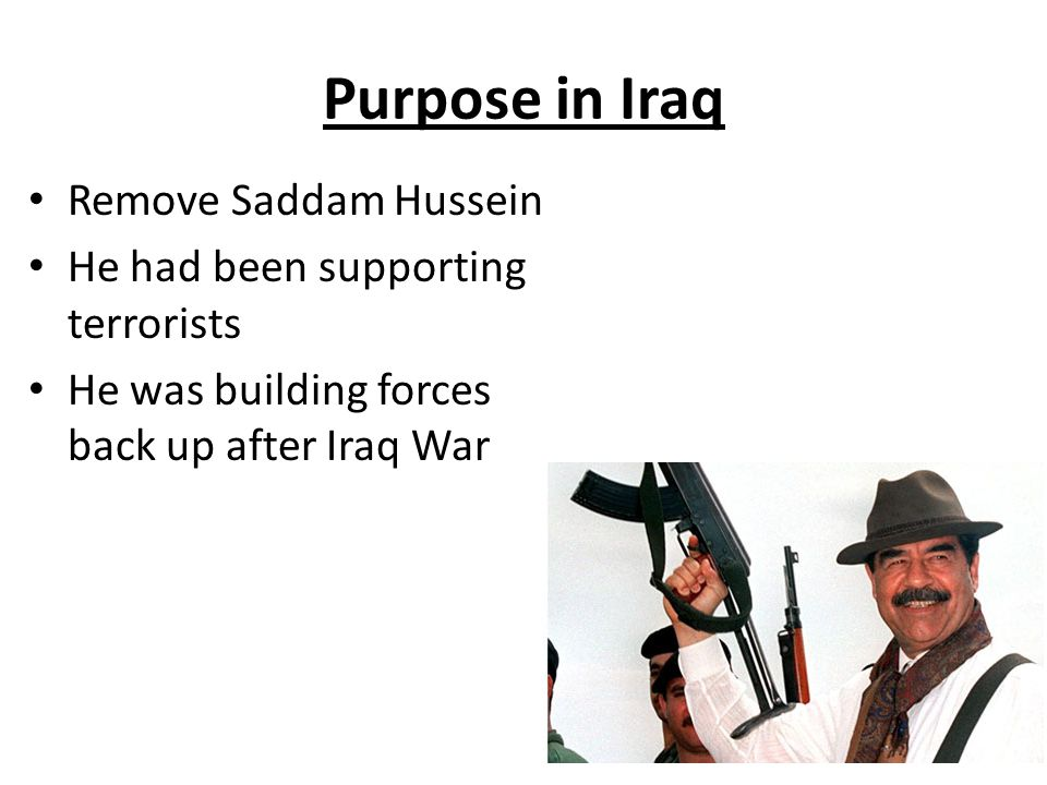 Purpose in Iraq Remove Saddam Hussein He had been supporting terrorists He was building forces back up after Iraq War
