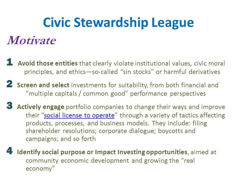 Civic Stewardship League Motivate 1 Avoid those entities that clearly violate institutional values, civic moral principles, and ethics—so-called sin stocks or harmful derivatives 2 Screen and select investments for suitability, from both financial and multiple capitals / common good performance perspectives 3 Actively engage portfolio companies to change their ways and improve their social license to operate through a variety of tactics affecting products, processes, and business models.