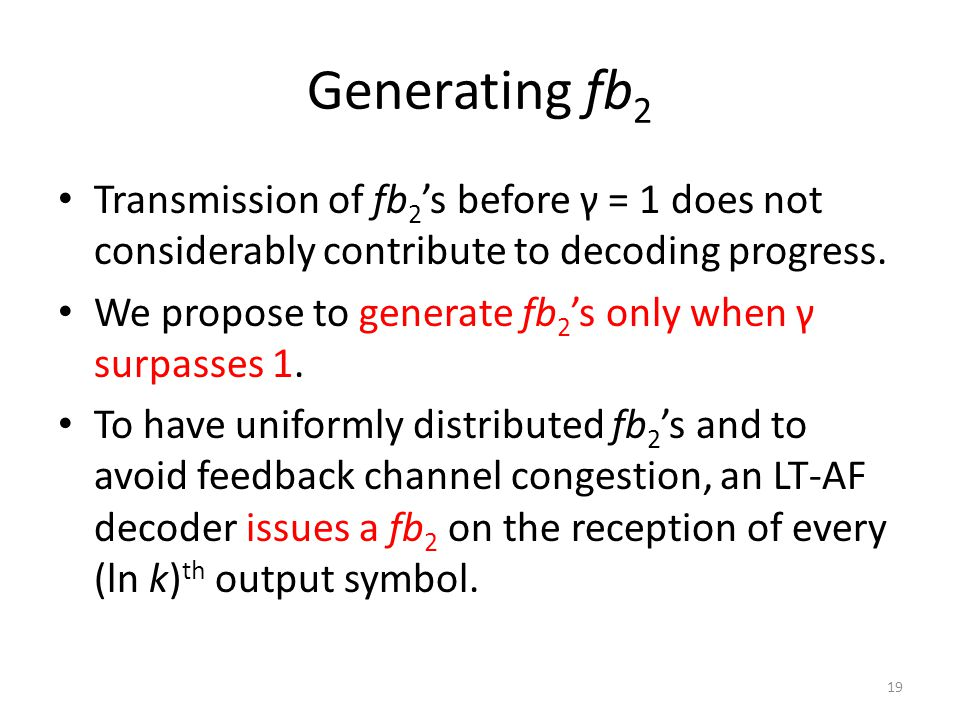 Generating fb 2 Transmission of fb 2 's before γ = 1 does not considerably contribute to decoding progress.