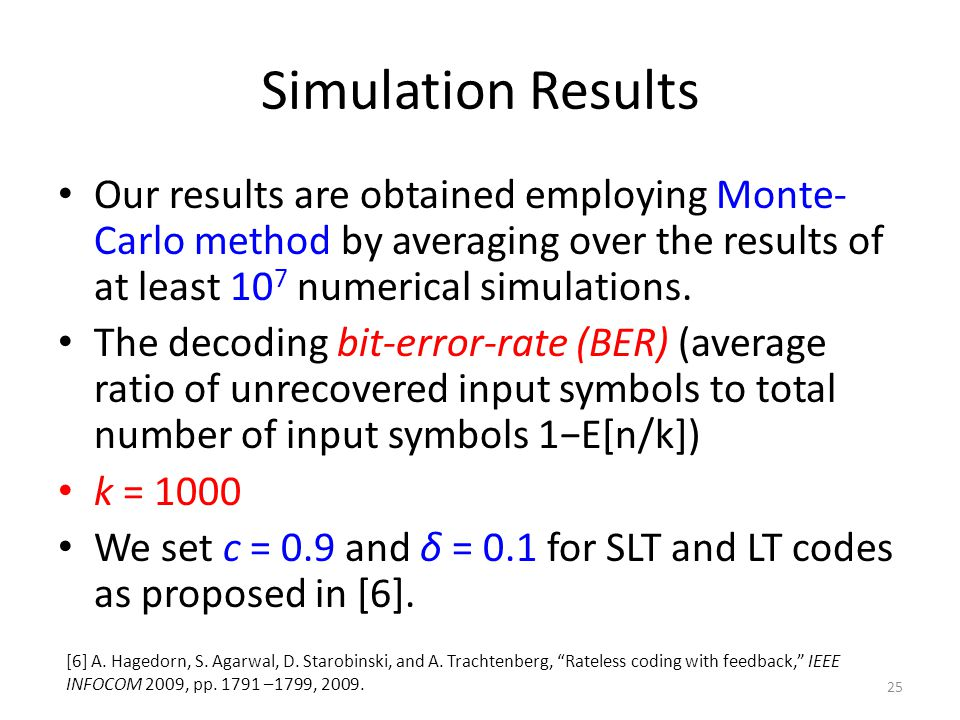 Simulation Results Our results are obtained employing Monte- Carlo method by averaging over the results of at least 10 7 numerical simulations.