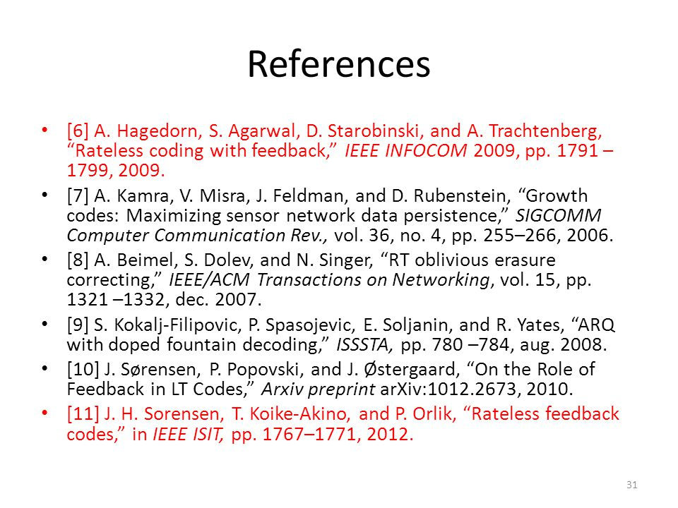 References [6] A. Hagedorn, S. Agarwal, D. Starobinski, and A.
