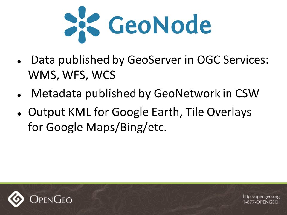 Data published by GeoServer in OGC Services: WMS, WFS, WCS Metadata published by GeoNetwork in CSW Output KML for Google Earth, Tile Overlays for Google Maps/Bing/etc.