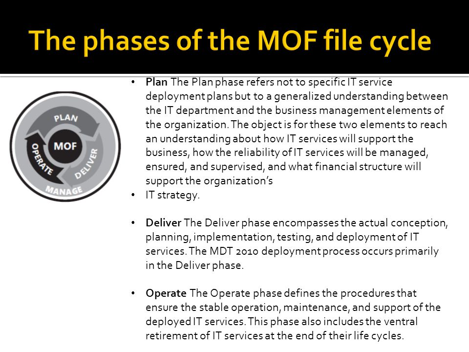Plan The Plan phase refers not to specific IT service deployment plans but to a generalized understanding between the IT department and the business management elements of the organization.