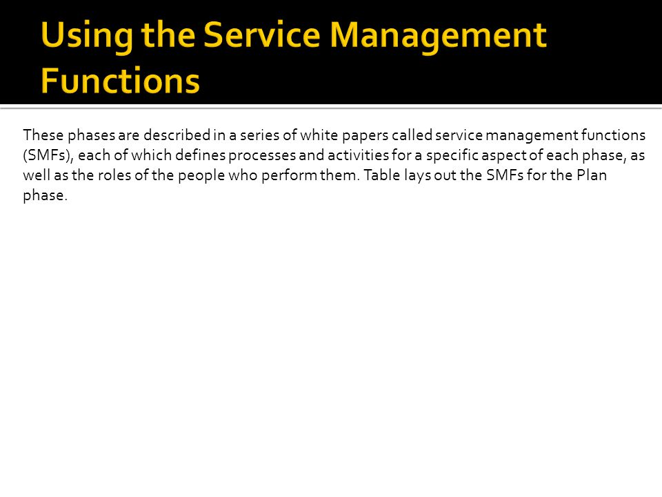 These phases are described in a series of white papers called service management functions (SMFs), each of which defines processes and activities for a specific aspect of each phase, as well as the roles of the people who perform them.