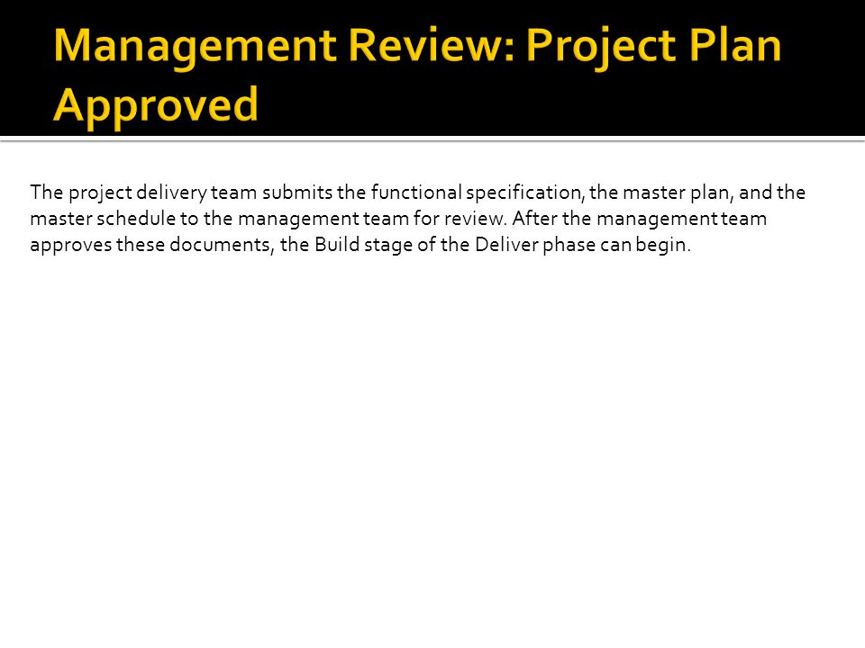 The project delivery team submits the functional specification, the master plan, and the master schedule to the management team for review.