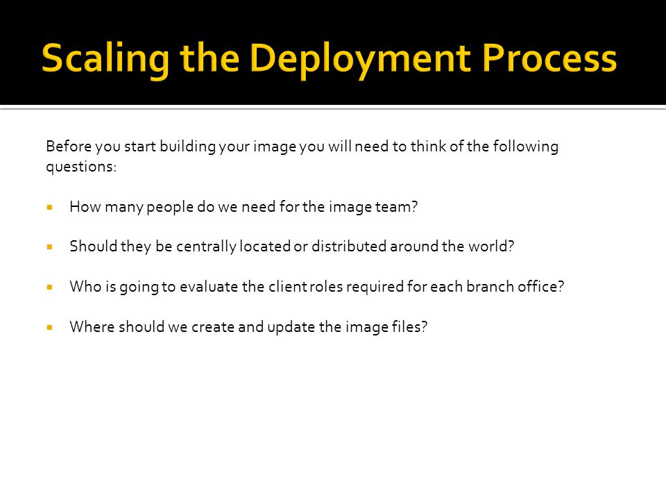 Before you start building your image you will need to think of the following questions:  How many people do we need for the image team.