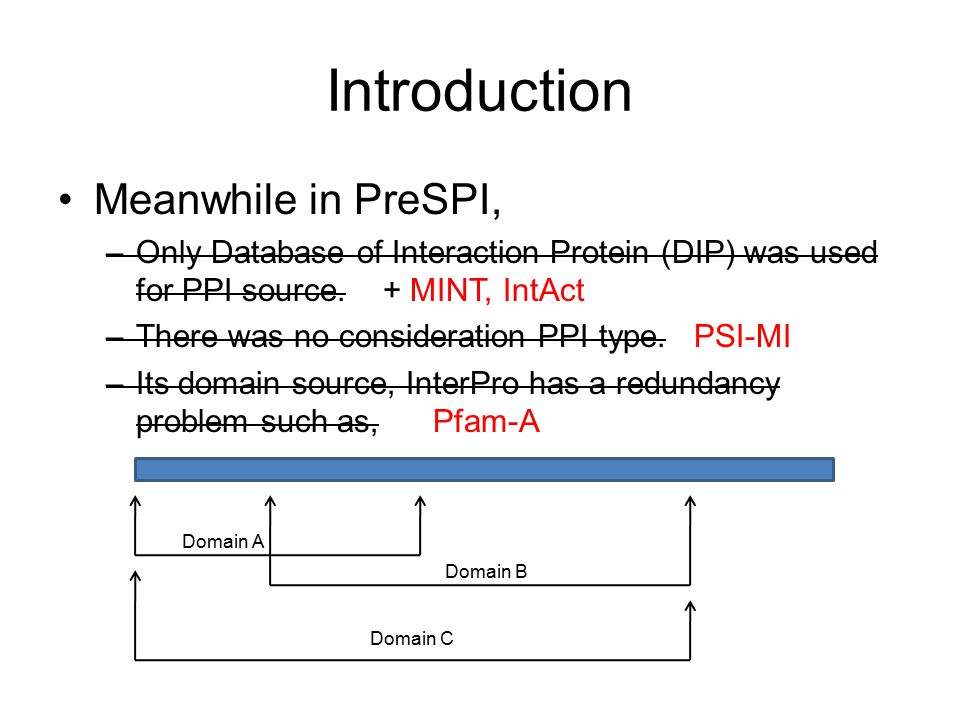 Introduction Meanwhile in PreSPI, –Only Database of Interaction Protein (DIP) was used for PPI source.