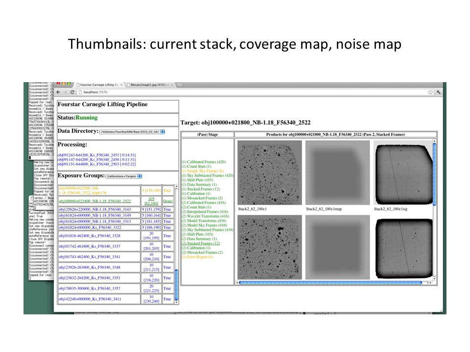 Thumbnails: current stack, coverage map, noise map